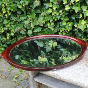 Mahogni ovalt spejl eller bakke L60,5xB45 cm