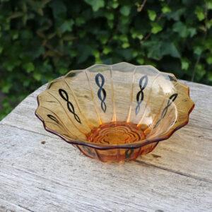 Okkerbrun glasskål retro Ø 23 x 7,5 cm