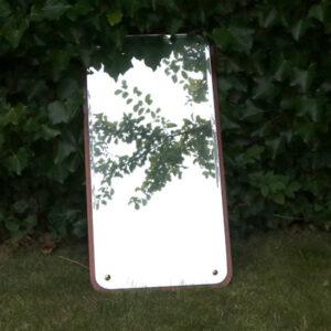 Retro teak facet slebet spejl 82x42 cm