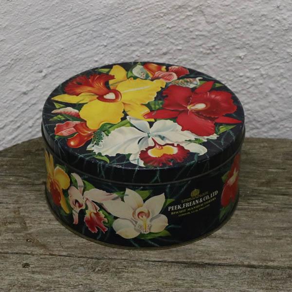 Engelsk kagedåse med blomster 20,5x9,5 cm