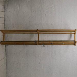 Ratan bambus hattehylde - med industrilook knager large 171x27x32 cm