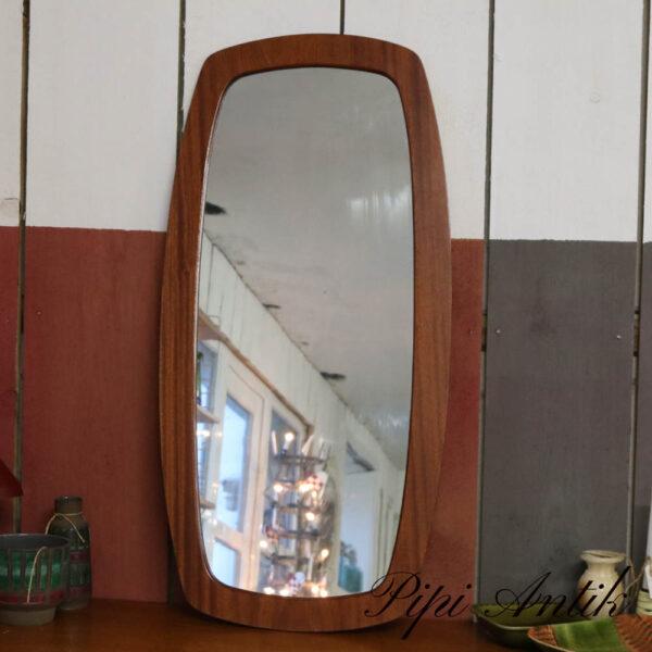 54 Teak spejl med bred kant lakeret lidt spejl patina