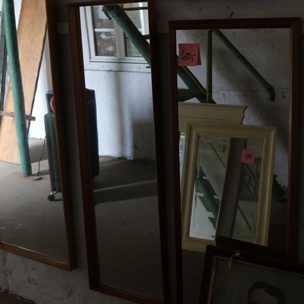 6 Aflangt teak spejl med patina 38x120x5 cm