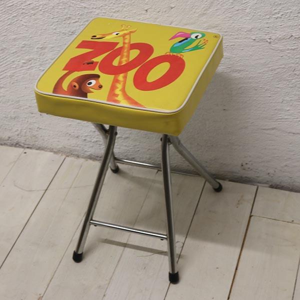 Gul plast retro krom stol 30x30x50 cm