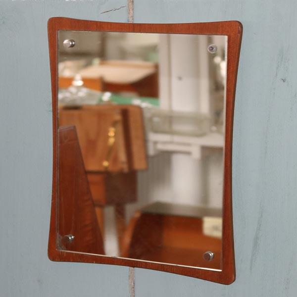 Lille teak træ spejl - retro - 29x35 cm