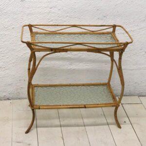01 Ratan bord - bambusbord med glashylder 60s32x54 cm