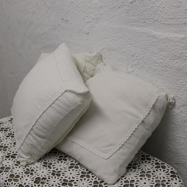 Puder hvide - bomuld - romantiske 35x35 cm