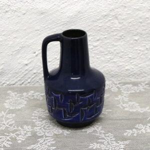 1 Retro blå keramik kandevase - svensk Ø11x19 cm