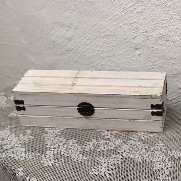 Hvid miniskatte kiste - nyere - 33x12x11 cm