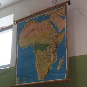1953 Afrika landkort Relife Och Vegetation 96x97 cm