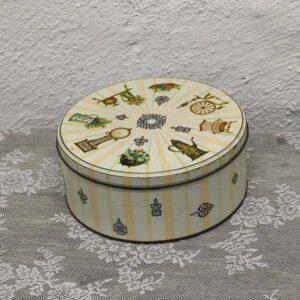 14 Kagedåse - beige - antik møbler mønster Ø23 x 10 cm