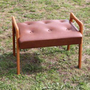 Retro skammel - brun kunstlæder B58,5xD40x35 cm i siddehøjde