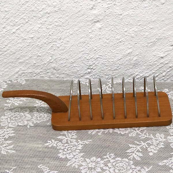24 Toast holder i teak træ - krom 32x10x9cm