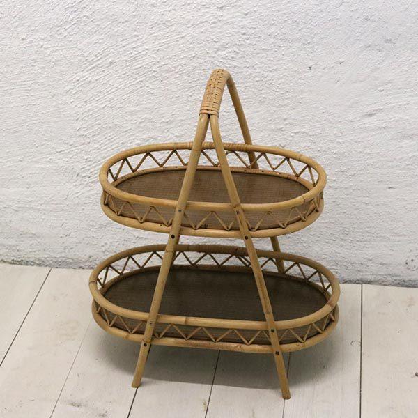 5 Ratan - bambus sidebord med underhylde 48x30x58 cm