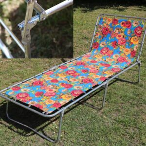 Liggestol i flower power retro stil - 188x67x30 cm