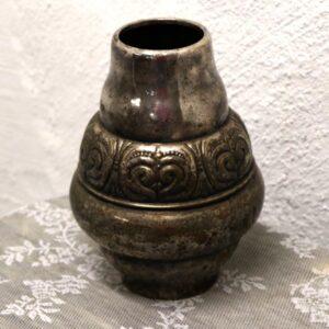 Sølvplet vase - romantisk - med patina - Ø8 øverst x 28 cm H