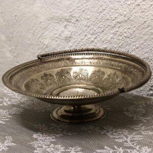 Sølvplet opsats med mønster og hank Ø25x7 cm