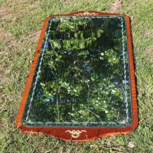 Spejl - empirestil og facetslebet med metalpynt 115x54 cm