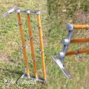 Kort 3 fags ratan industristils knage og hattehylde L99xD28xH22 cm