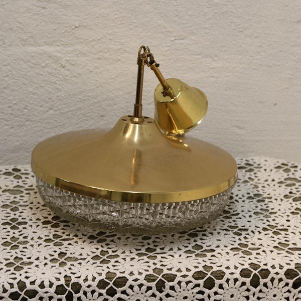 Loftlampe guld look og glas - retro Ø 33x15 cm H