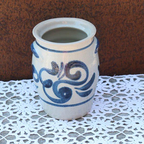 Blå lerkrukke - svensk - 10,5x16 cm