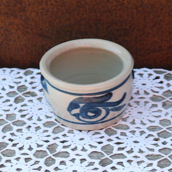 Blå lerkrukke - til smør - Æ11x8,5 cm - svensk