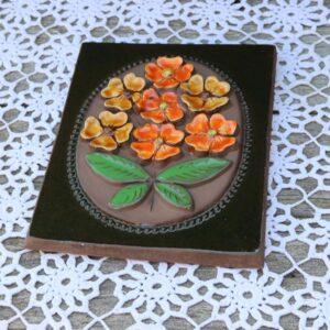 JIE Svensk keramik billede - Orange blomster - 844 - 18x23 cm H