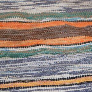 08 Kluddetæppe lyseblå og orange toner 130x214 cm