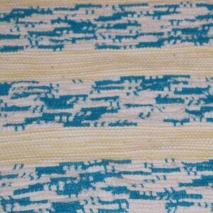 09 Kluddetæppe tyrkis og hvid samt pastelgul 69x175 cm