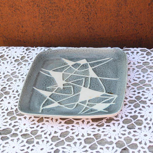 West Germany keramikfad 1217 - grålig og hvidmønstret - retro - 24x35 cm