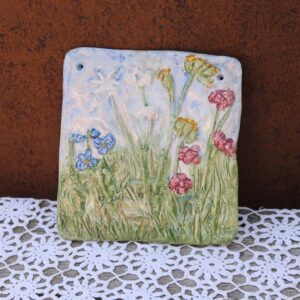 INGLA keramik blomst billede - 21x22 cm - pastel farver