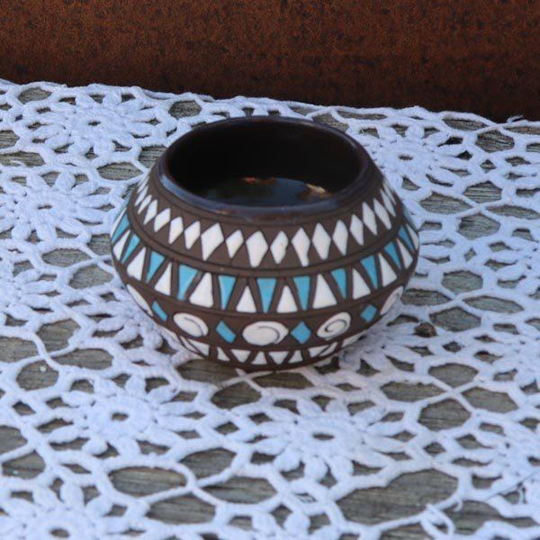 Svensk keramikskål - retro - tyrkisblå og hvid og natur Ø7x7 cm H