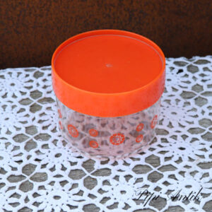 Orange retro plastdåse Ø12x9,5 cm