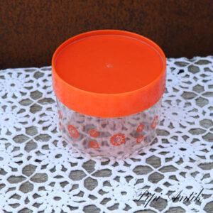 Orange retro plastdåse Ø12x9,5 cm