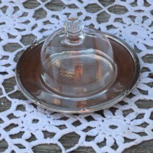 Sølvplet - smør glasklokke eller portionsosteklokke Ø 11x7 cm