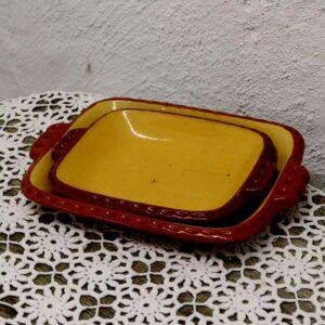 Fade - keramik - landstil - brun og gullige 20x28 cm størst