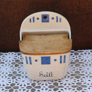 Salkar porcelæn Gefle råhvid og blåt 15,5x10x18 cm til top
