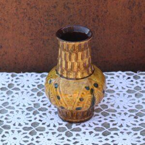 West Germany oliven farvet keramikvase 990-17 cm