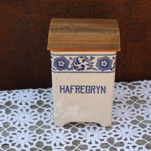 Krukke - porcelæn - Hafregryn - Gefle med uoriginal trælåg 12,5x12x18 cm