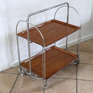 Bakkebord i teak krom med hjul - Bremsley & Co Solingen