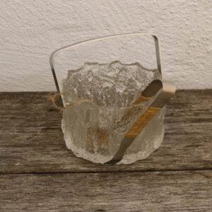 Isterning spand - svensk - retro - frostet glas og flet Ø13x17 cm
