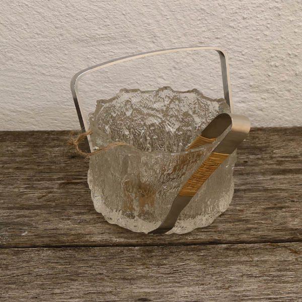 Isterning spand svensk retro frostet glas og flet Ø13x17 cm uden IS picker