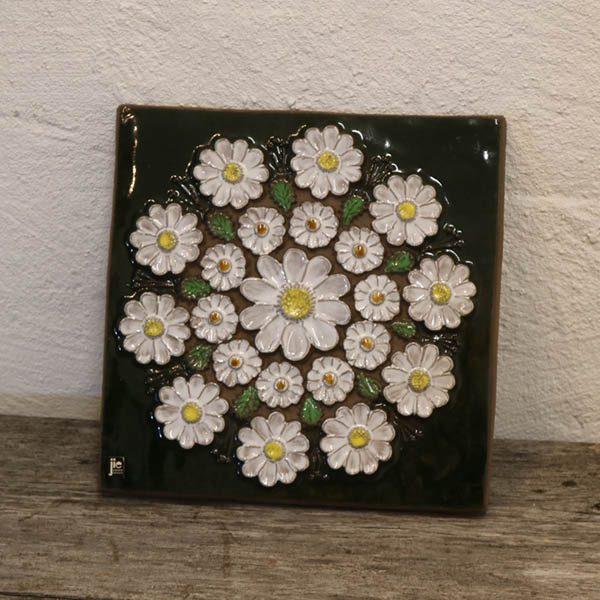 Keramik billede - marguerit blomst JIC 856 svensk 29,29,5 cm