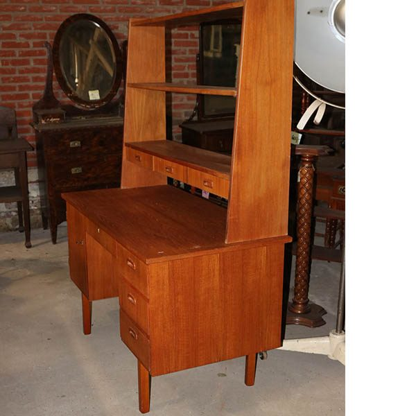 Teak træs skrivebord - med reolsystem - kan adskilles 120x60x160 cm