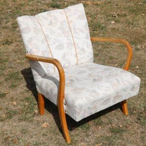 Retro lyst lænestol ombetrukket B60xD55xH75,5 cm (40 cm siddehøjde)
