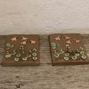 Lyserøde JDL keramik billeder 22x15 cm