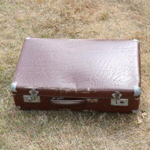 Kuffert - brun - læderlook - 1 lås itu - 50x31x23 cm