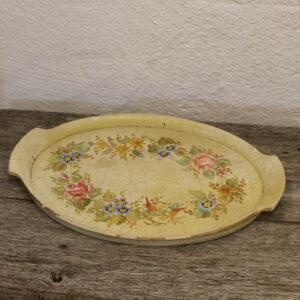 Træbakke - romantisk sart gul med blomster 41x28 cm