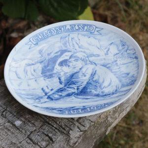 Grønlandsk platte - julen 1974 Krone Porcelæn Ø20 cm