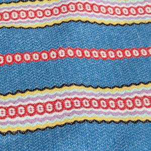 18 Kluddetæppe - siv - retro - blåt rødt gult 68x103 cm